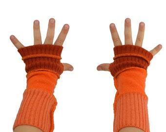 Kids Arm Warmers in Mandarine Tangerine Orange - Segmented Sleeves - Recycled Sweaters