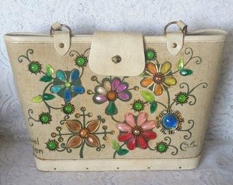 Enid Collins, Collins of Texas, Vintage Fabric Bucket Handbag, Jewel Garden
