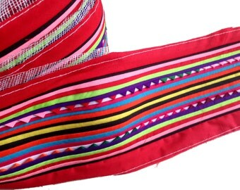 Hmong Textile, Lisu Fabric, hmong fabric, lisu tape, hill tribe, red, quilted, embroidered, craft, fabric, stripe, black, rainbow, quilt