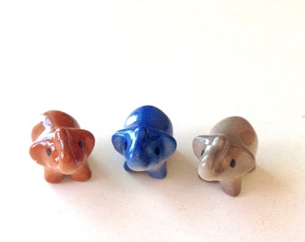 Little Grey Ceramic Elephant: mini animal, ceramic animal, tiny animal, small animal, little animal, decoration, small, little, mini, grey