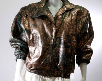 Marziale vera pelle 1980 Italian leather bomber jacket size medium shipping included Usa & Can
