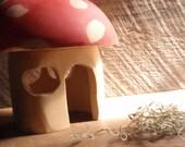 waldorf toadstool house: handcarved mushroom gnome cottage