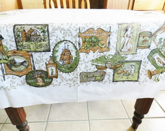 Green Americana Tablecloth, Brown Vintage Tablecloth, Americana Theme Tablecloth, Country Tablecloth, Farmhouse Kitchen