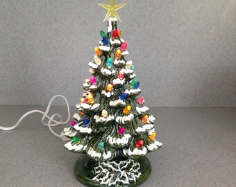 Lighted Ceramic Christmas Tree   11 inches tall  The traditional holiday light decoration  ( READY to ship) Green Glaze #11GG,MST,S,YMS