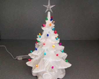 "White Ceramic Christmas Tree 18"" Retro style  Multi colored twist  Ready to ship #E090516"