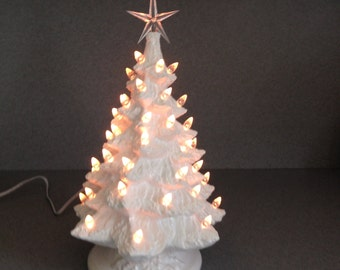 Traditional Snow White Ceramic Christmas Tree ....15 inches Tall ready to ship #NTW102715