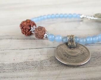 Gypsy Mala Bracelet - Boho, Gemstone, Stacking Bracelet, Light Blue Jade, with Old Coin Charm and Rudraksha Prayer Beads