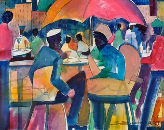 Downtown Dining Watercolor Print, African American Art, Contemporary Art, Urban Art, Watercolor Art, Home Decor Art, Wall Art, Black Art