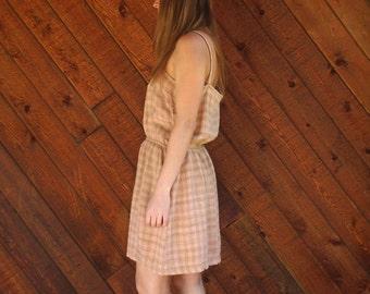 Plaid Silk Sleeveless Mini Sun Dress - Vintage 80s - MEDIUM Petite