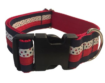 Red and Navy Polka Dot Wide Dog Collar - Martingale or Buckle