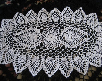 New, hand made, double pineapple, oval ,  crochet doily, ready to ship, white