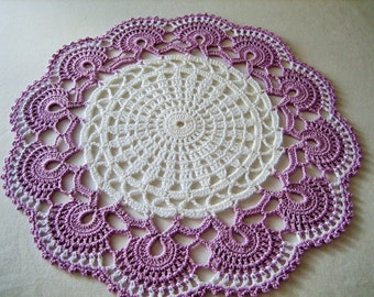 Fabulous, hand made, crochet doily, white, wood violet,ready to ship