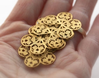 Vintage Brass Butterfly Filigree Findings Stampings 27mm (12)