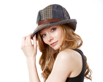 Wool Patchwork Fedora Hat- Fall Fashion- Winter Hat- Packable Hat- Men's Hat- Women- Tweed Fedora Hat- Tartan Plaid- Winter Accessories