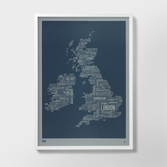 Limited Edition: British Isles Type Map Screen Print, British Isles Font Map, British Isles Word Map, British Isles Artwork, British Isles
