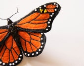Fiber Art Monarch Butterfly Brooch Reserved for Marcella