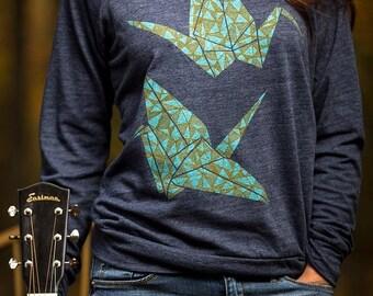8TH ANNIVERSARY SALE women's pullover sweatshirt, women's sweatshirt, paper cranes, origami design
