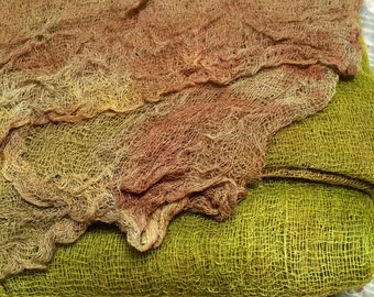 Hand Dyed Lightweight Open Cotton Gauze/Scrim for Nuno Felting, Wraps and Needlecraft