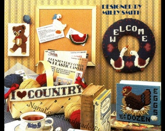 Plastic Canvas Country Things Pattern - Geese, Hearts, Pigs, Rooster & More - Leaflet Leisure Arts 1083