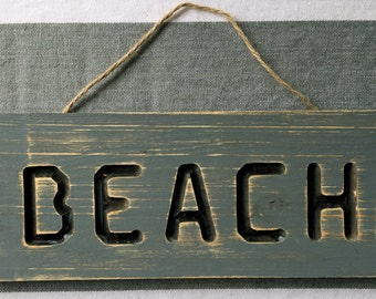 Beach Sign, Rustic Beach Sign, Hand Crafted Beach Sign, Distressed Wood Beach Sign, Distressed Wood Sign