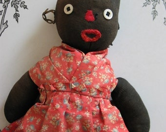 Antique Black Americana Sock Doll Primitive Very Cool