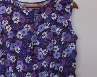 daisies in purple...vintage fabric loose fit sleeveless dress with side seam pockets