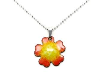 Small Flower Necklace - Lightweight Flower Pendant - Orange and Yellow Flower Charm on Delicate Sterling Silver Chain