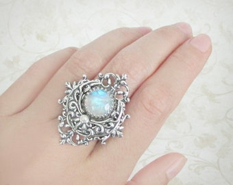 Luna's Blessing Rainbow Moonstone Ring - Silver Crescent Moon Ring, Statement Ring, Cocktail Ring, Bold Rings, Moonsong Collection