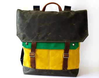 Waxed Canvas Backpack / Recycled Green Wool & Yellow Canvas with Minimalist Leather Closure READY TO SHIP