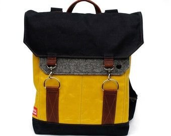 Traveller Waxed Canvas Backpack / Grey Herringbone Recycled Wool, Yellow Waxed Canvas & Oiled Leather
