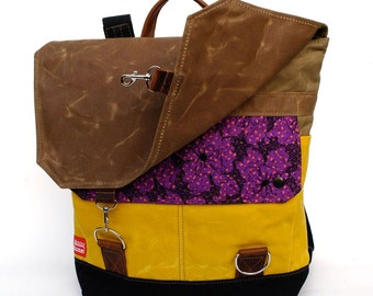 Waxed Canvas Backpack - Orchid Quilted Cotton & Oiled Leather