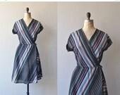 25% OFF.... Seventies Stripe wrap dress | vintage 1970s wrap dress | 70s day dress