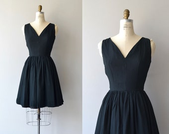 Little Miss Perfect dress | vintage 1950s dress | black chiffon 50s dress