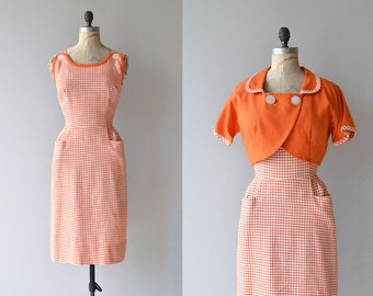 Ice Cream Social dress | vintage 1950s gingham dress | 50s cotton day dress