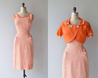Ice Cream Social dress | vintage 1950s gingham dress | 50s cotton day dress