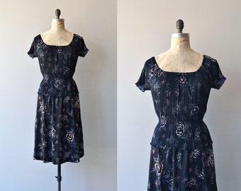 Night Bloom dress | vintage 1970s dress | black floral 70s dress