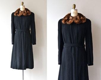 DePinna mink collar coat | vintage 1930s coat | wool 40s coat