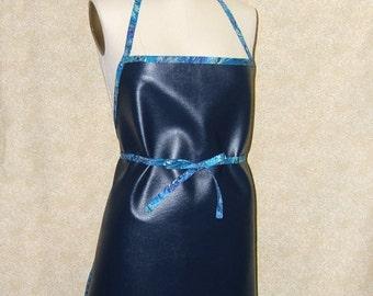 Vinyl Chef Apron Navy Blue with Blue marbled trim standard chef style work apron Portland Oregon