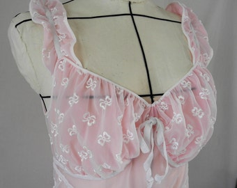 Vintage nightgown, 1950s Luxite by Holeproof, pink and white, embroidery, full length, size 36