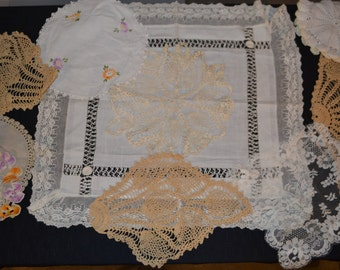 Antique Lace and Crochet with Linen Collection of Ten