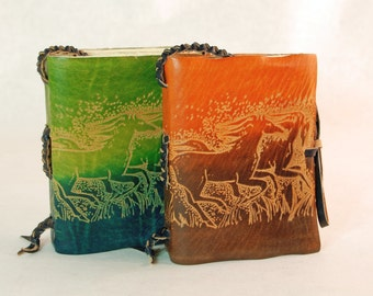 Running horses Leather Journal