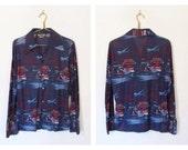 Men's Vintage 1970s Disco / Air Traffic Controller / Airplane Novelty Print Button-down Shirt