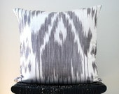 ON SALE GREY Ikat Linen and Silk Cushion Cover 45 x 45 cm, 18 inch