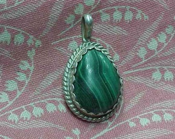 Vintage Signed CB Sterling and Malachite Cabochon Pendant