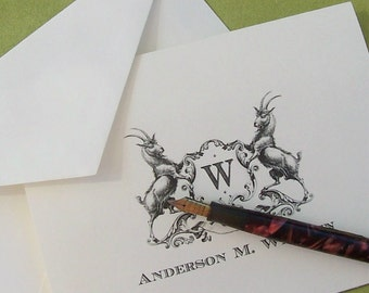 Personalized Goat Family Crest Monogrammed Note Cards Stationery Set 10 Vintage Inspired Country Heraldic Billygoat NoteCards Barn Farm