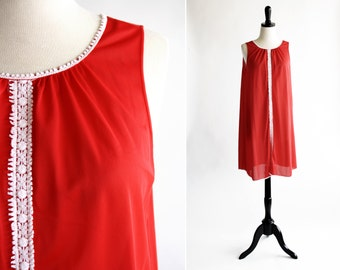 Cherry Red Vintage 70s Nightgown