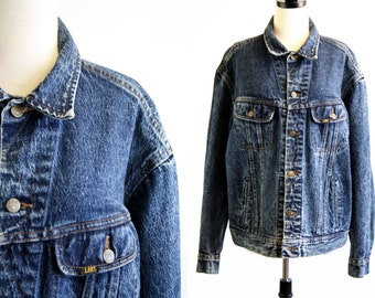 80's Oversize Unisex Made in USA Vintage Lee Stone Wash Denim Jean Jacket