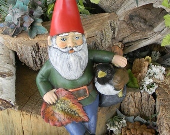 Vintage style Garden Gnome with bird  ..Modernly Made .Handmade ..Give a Gnome a Home -