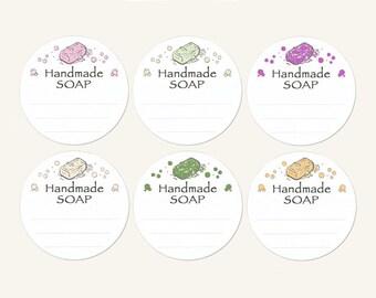 "1-2/3"" (1.625"") Pre-printed Design ~Handmade SOAP~ Matte Sticker Labels (6 color ""soaps"" on each sticker order)"