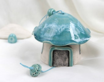 Turquoise Sky Fairy House Romantic garden-home Ceramic Bell -- Hand Made Ceramic Eco-Friendly Home Decor by studio Vishnya